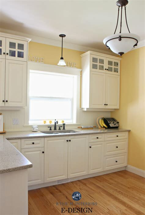 painting oak kitchen cabinets cream nrtradiant com benjamin moore suntan yellow in kitchen with quartz