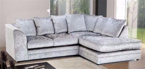 Silver Corner Sofa by Crushed Velvet Silver Corner Sofa 2cc Furniture