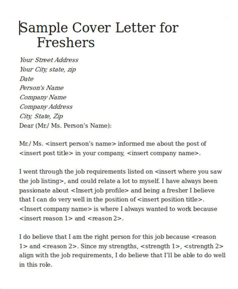 cover letter format for freshers cover letter for software engineer 5 exles in word pdf