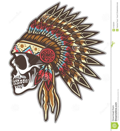 indian skull stock vector illustration of high tribe