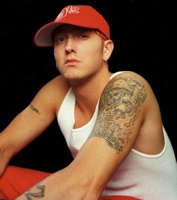 eminem tribal tattoo eminem s left sleeve flaming skull tattoomagz