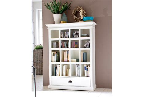 White Painted Solid Wood Bookcase With Drawer Halifax White Wooden Bookcase