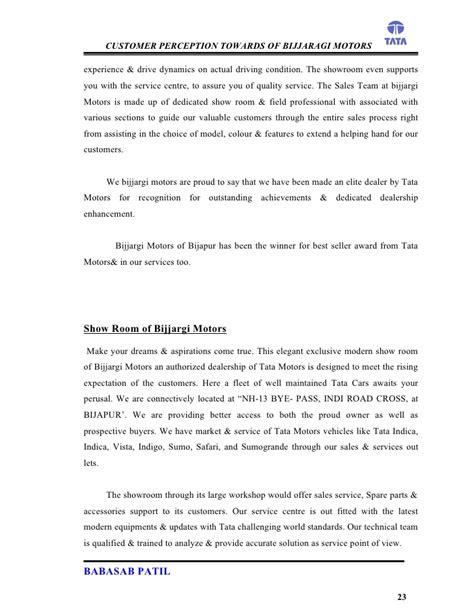 Marketing Project Report Mba by Customer Perception Bijjaragi Motors Project Report Mba