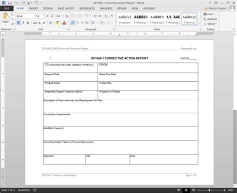 corrective template corrective report template template design