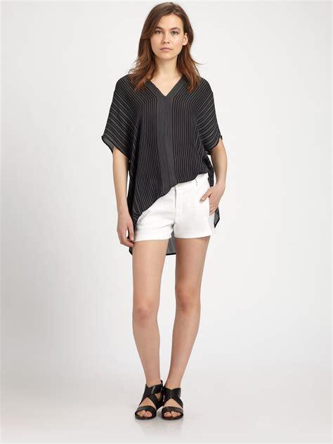 Blouse Striper Black Hitam Salur lyst vince striped silk blouse in black