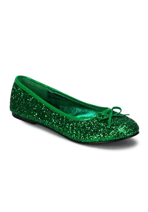 green shoes green glitter flats