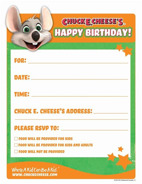 printable birthday invitations chuck e cheese printable birthday invitations birthday party