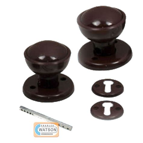 60mm brown plastic door knob set mortice latch
