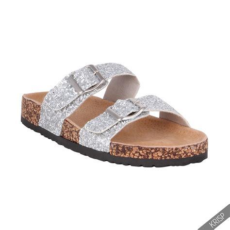 on sandals womens glitter strappy arizona mule slip on sandals