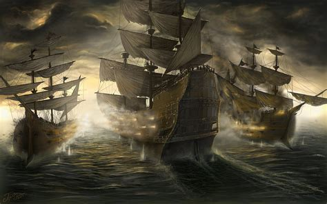 battle sailing ship fantasy boat war wallpaper 2560x1600