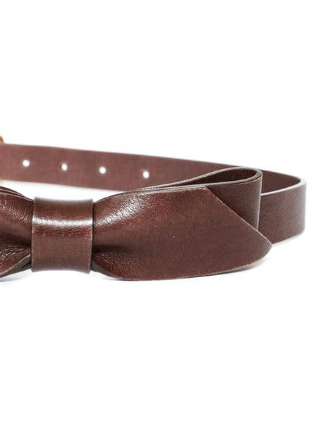 louise cognac brown leather belt with bow