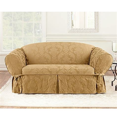 gold slipcovers buy sure fit 174 matelasse damask one piece loveseat
