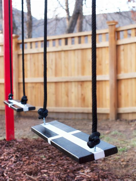 how to make swings how to build a wooden kids swing set hgtv