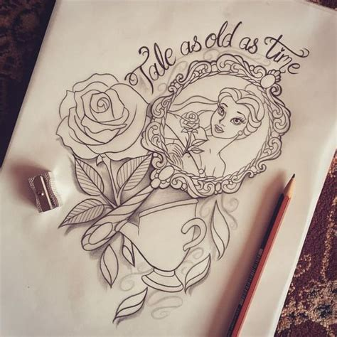 beauty and the beast design tattoo ideas pinterest