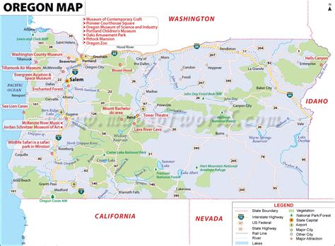 oregon map usa map of oregon state map of usa