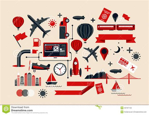 Elements Of My Vacation by Creative Transport Elements Stock Vector Image 40797142