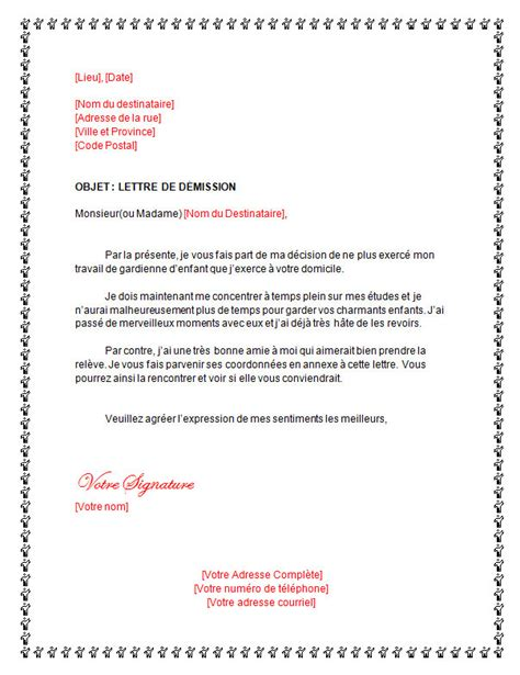 modele lettre de demission nounou document