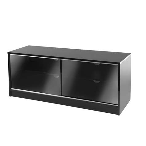 Glass Tv Cabinet With Doors Black Sliding Door Lcd Plasma Tv Cabinet Stand 110cm 38 55 Inch Screens Ebay