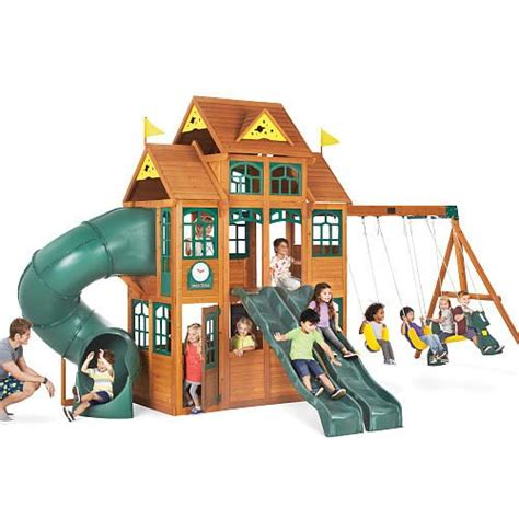 ridgeview clubhouse wooden swing set big backyard falcon ridge premium wood swing set wood