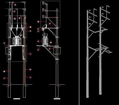post aerial transformer substation  dwg detail