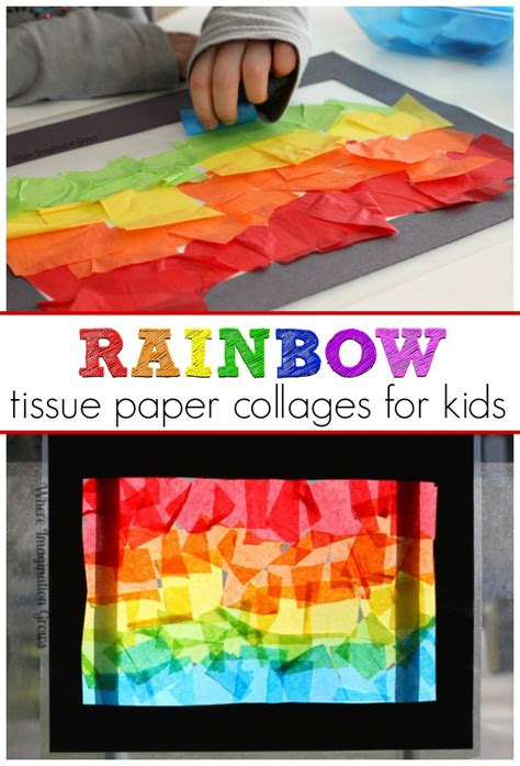 Tissue Paper Stained Glass Craft For - rainbow craft tissue paper suncatcher collages