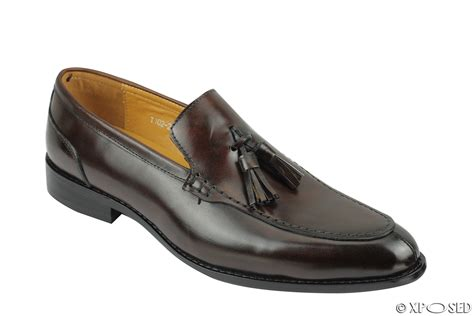 mens black and brown loafers mens real leather slip on tassel loafers retro smart