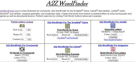 Use A2z Wordfinder As Scrabble Dictionary Word Generator