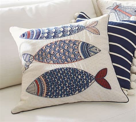 Embroidered Pillow Cover by 3 Fish Embroidered Pillow Cover Pottery Barn