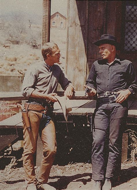 film western yul brynner steve mcqueen yul brynner on the set of the magnificent