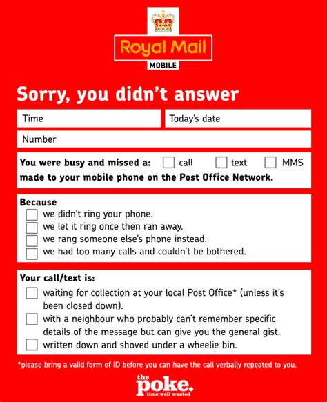 sorry i missed you calling card template revealed the new post office mobile network missed call
