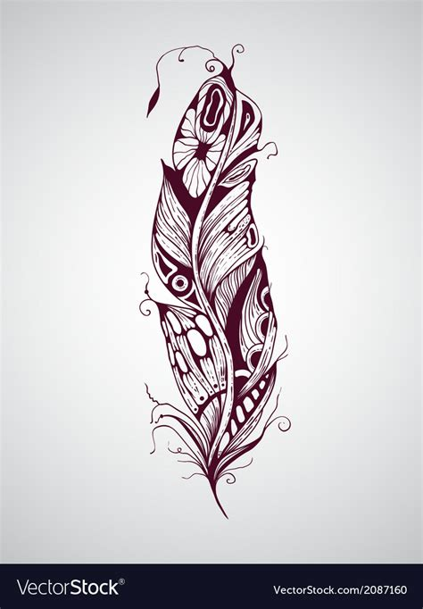feather tattoo vector highly detailed hand drawn tattoo feather vector image