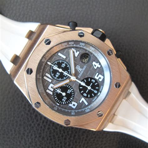 Audemars Piguet Roo Rosegold Rubber Automatic audemars piguet royal oak offshore gold on white rubber honolulu time company