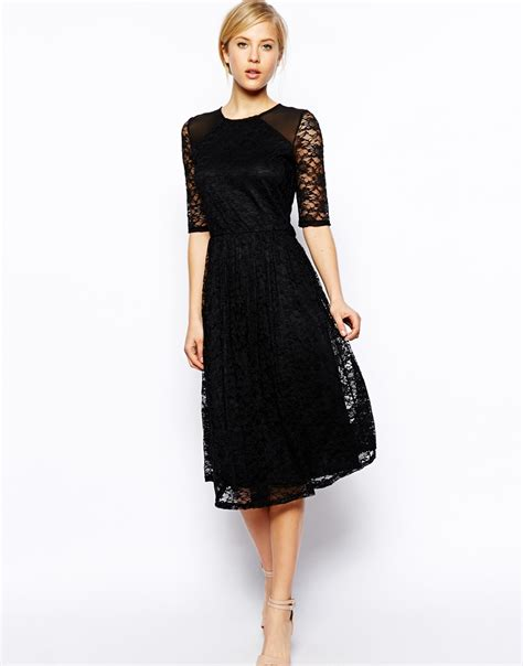 Dress In asos midi dress in sunflower lace with shoulder detail in black lyst