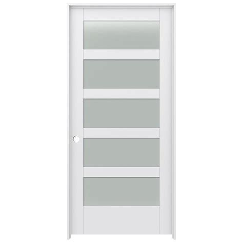 interior doors with frosted glass shop jeld wen moda primed frosted glass interior door with hardware common 36 in x 80 in