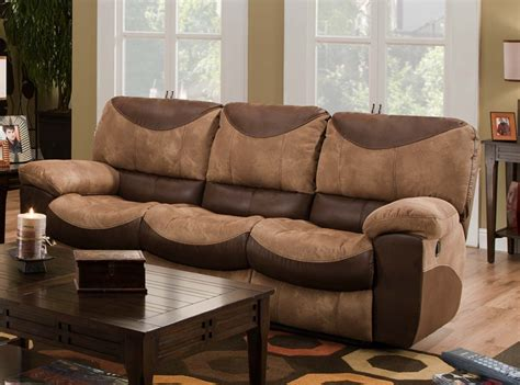 portman reclining sofa in two tone chocolate and saddle