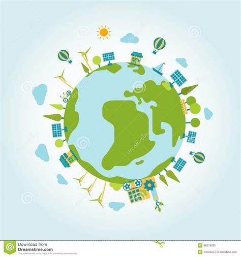 eco green energy planet world globe modern flat style