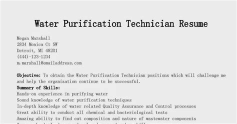 Water Purification Technician Sle Resume by Resume Sles Water Purification Technician Resume Sle