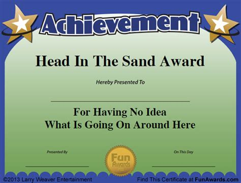 free silly card template employee awards 101 awards for employees