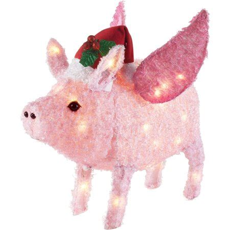 pink flying pig outside christmas decoration time 26 inch light up flying piggy hat with 35 lights walmart