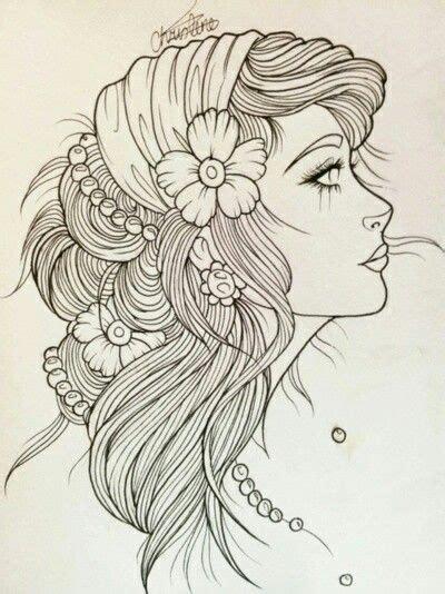 tattoo flash lines gypsy girl art gypsy girl line art tattoo flash