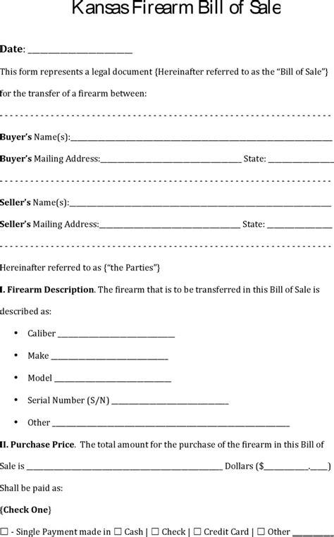printable bill of sale car kansas download kansas firearm bill of sale for free tidyform