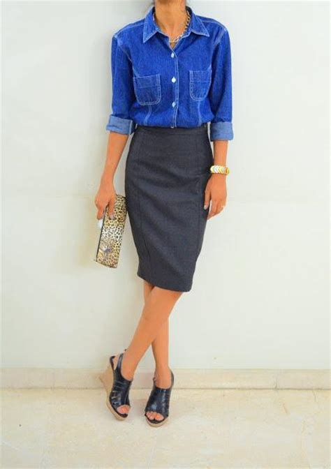 a denim shirt and a pencil skirt you can t go wrong