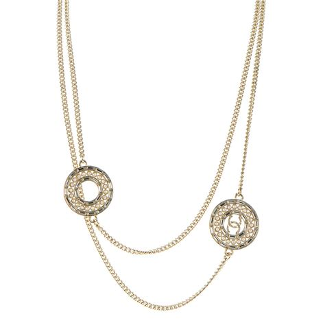 Chanel Chain Baguette by Chanel Baguette Pearl Cc Chain Necklace Gold 135694