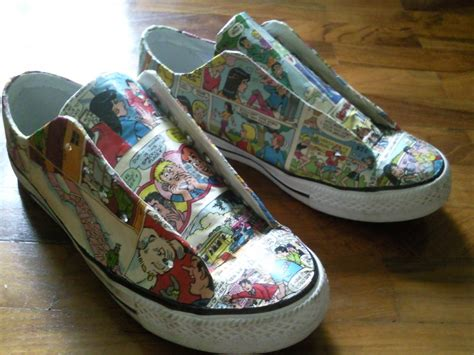 Decoupage Shoes With Paper - harley quinn comic shoes 183 a pair of decoupage shoes