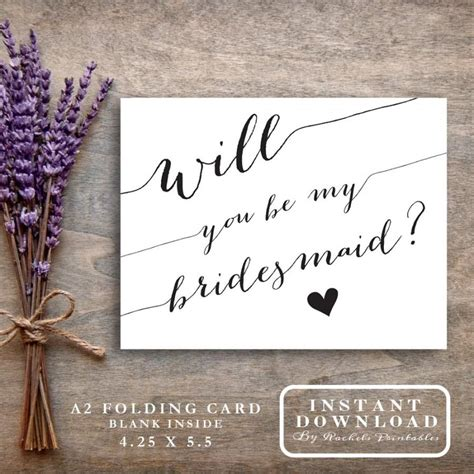 Asking Bridemaids Template Card by Bridesmaid Card Printable Quot Will You Be My Bridesmaid