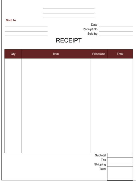 Free Printable Blank Receipt Template Cash Receipt Template 5 Printable Cash Receipt Formats