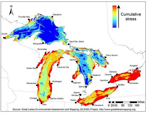 map of us showing great lakes new great lakes map highlights environmental threats and