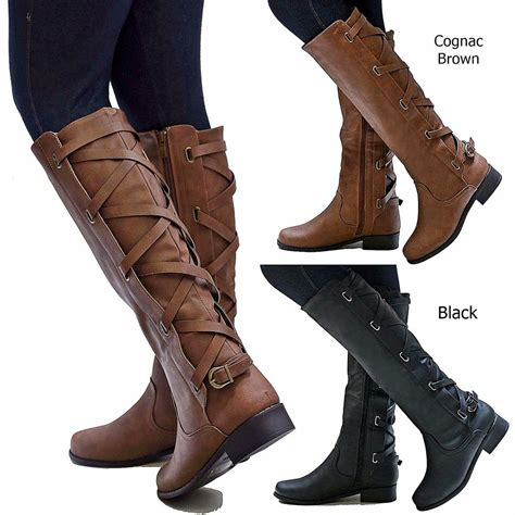 new womens gc1 cognac brown black buckle knee high