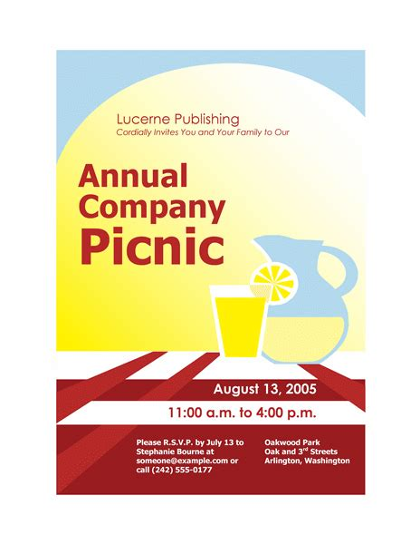 invitation flyer templates free free printable invitations of company picnic