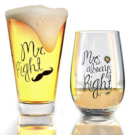 Dinner And A Movie Gift Card Darden - mr right and mrs always right novelty wine glass beer glass combo